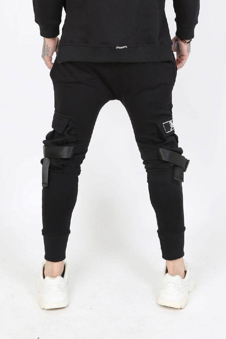 Judas Sinned Mecha Utility Strap Sweat Cargo Men's Joggers - Black - Judas Sinned Clothing