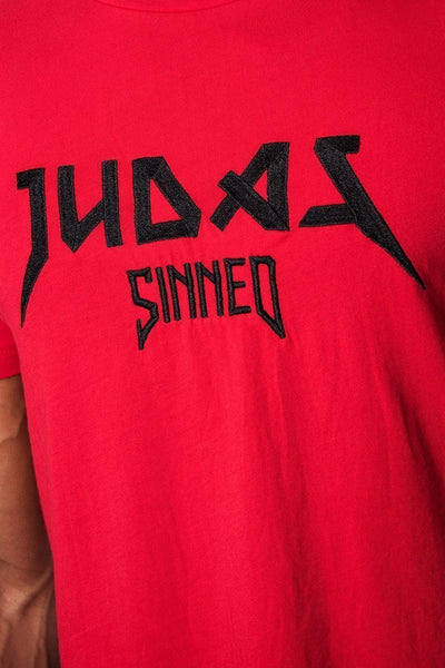 Judas Sinned Metal Outline Embroidery Men's T-Shirt - Red - Judas Sinned Clothing