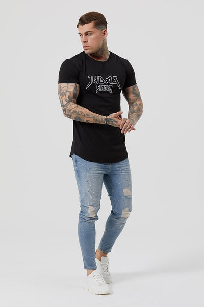 Judas Sinned Metal Outline Embroidery Men's T-Shirt - Black - Judas Sinned Clothing