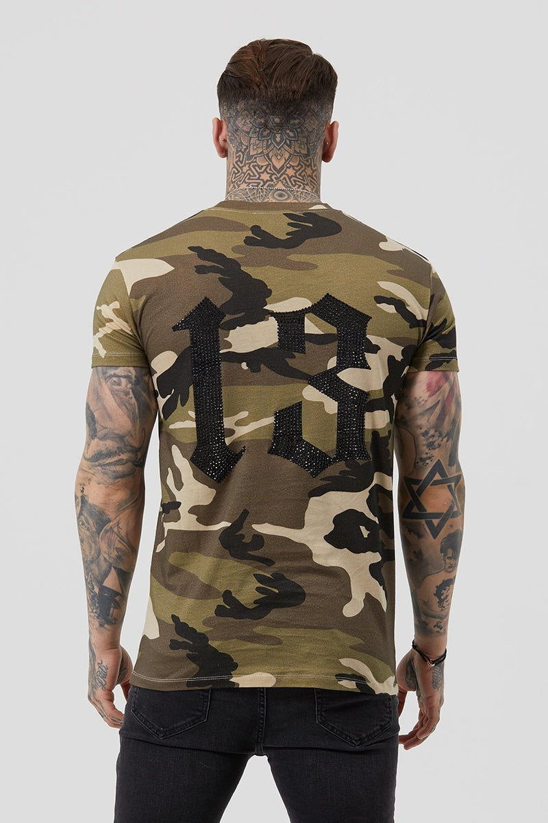 Mens Judas Sinned Mil Crystal Badge Men's T-Shirt - Camouflage (T-Shirts) - Judas Sinned Clothing