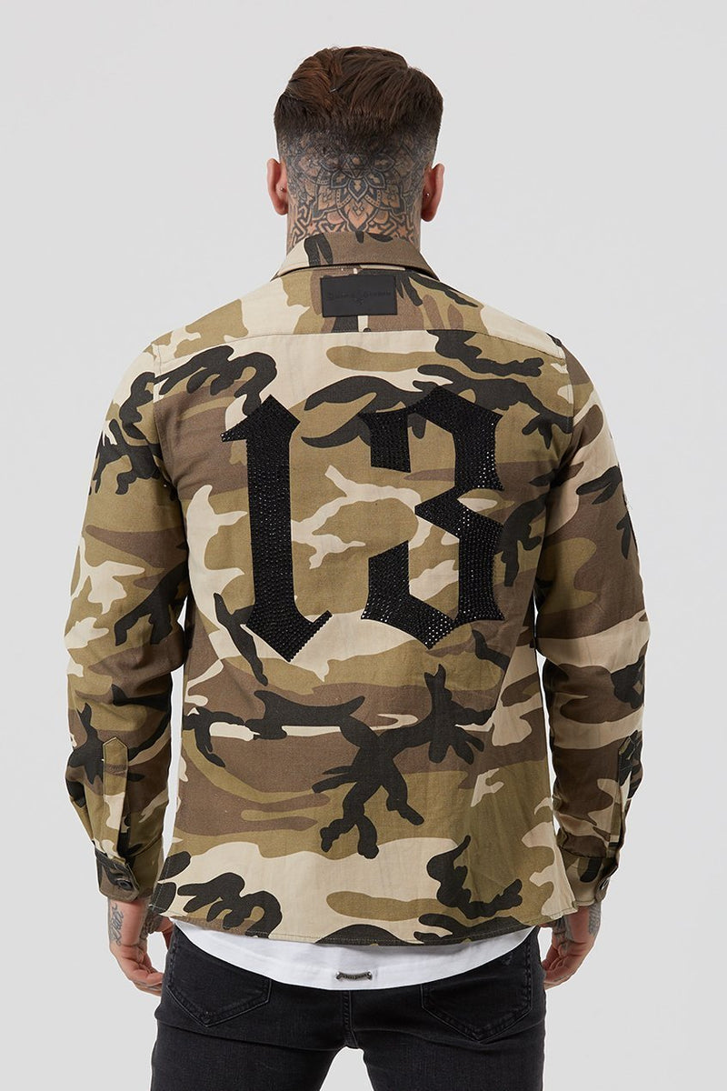 Mens Judas Sinned Military Crystal Men's Shirt - Camouflage (Shirts) - Judas Sinned Clothing