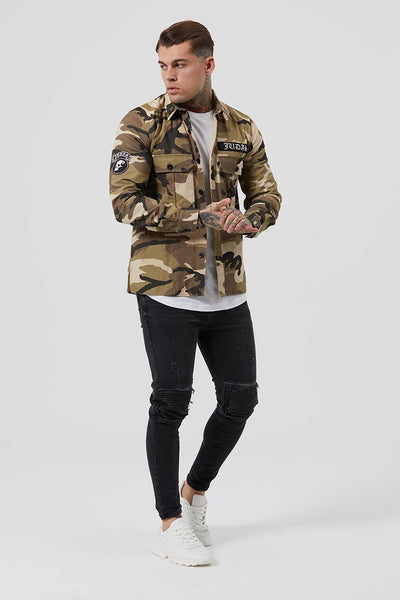 Judas Sinned Military Crystal Men's Overshirt - Camouflage - Judas Sinned Clothing