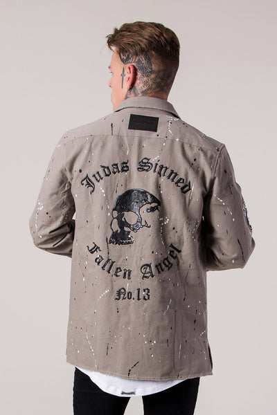 Mens Judas Sinned Military Men's Shirt - Taupe (Shirts) - Judas Sinned Clothing