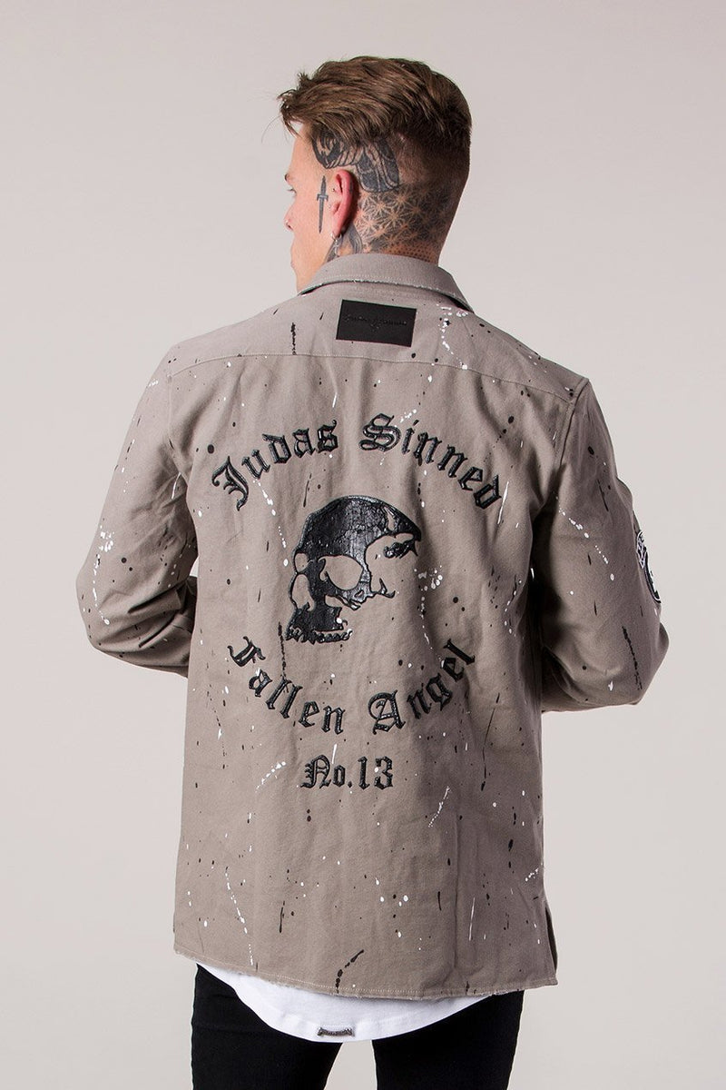 Judas Sinned Military Men's Overshirt - Taupe - Judas Sinned Clothing