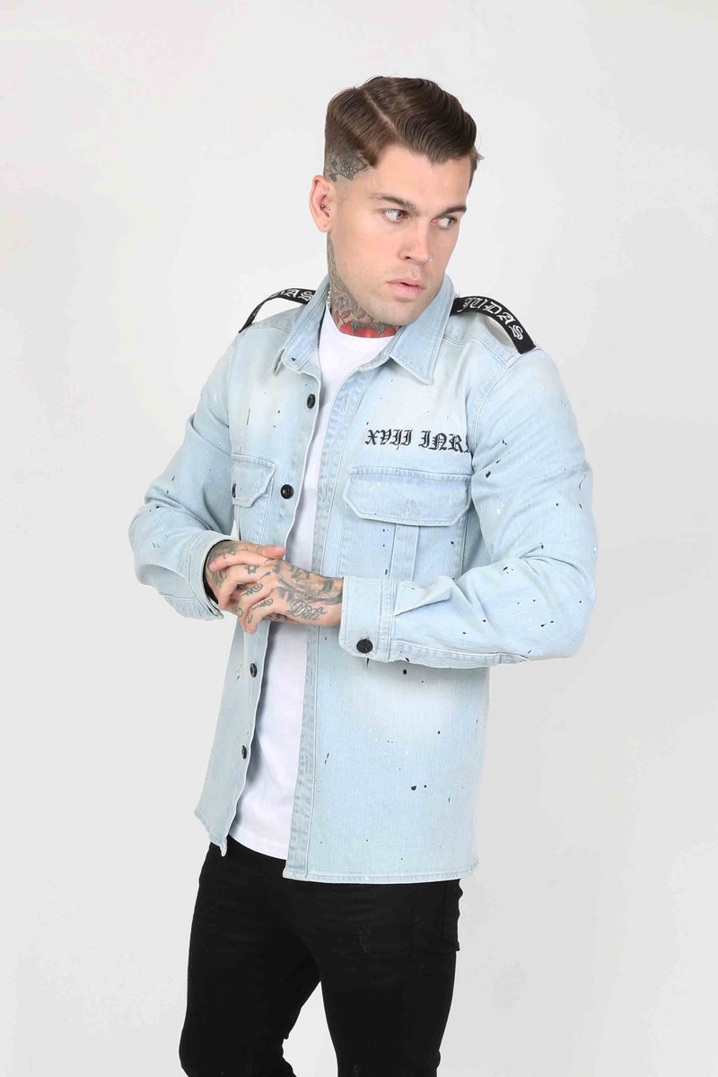 Judas Sinned Milli Badge Crystal Men's Overshirt - Light Wash Denim - Judas Sinned Clothing