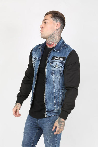 Judas Sinned Moto Paint Splatter Trucker Men's Jacket - Blue Vintage Wash - Judas Sinned Clothing