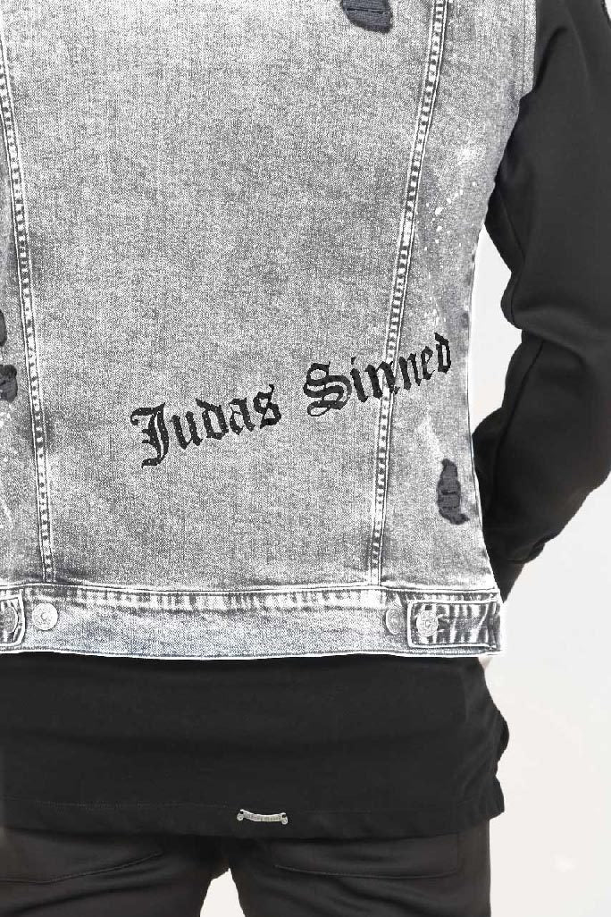 Judas Sinned Moto Paint Splatter Trucker Men's Jacket - Grey - Judas Sinned Clothing