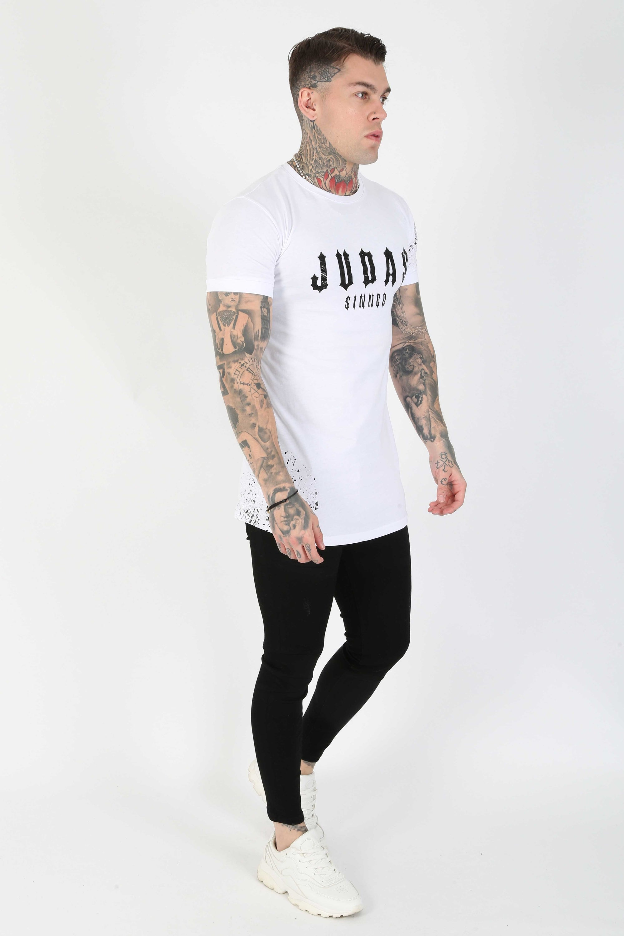 Judas Sinned Neo Crystal Print Men's T-Shirt - White - Judas Sinned Clothing