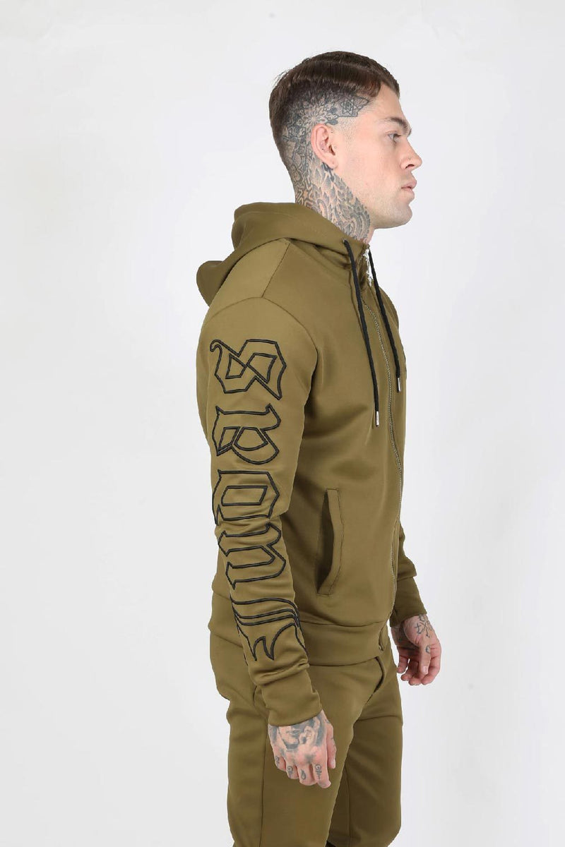 Judas Sinned Outline Embroidery Scuba Zip Men's Hoodie - Khaki - Judas Sinned Clothing