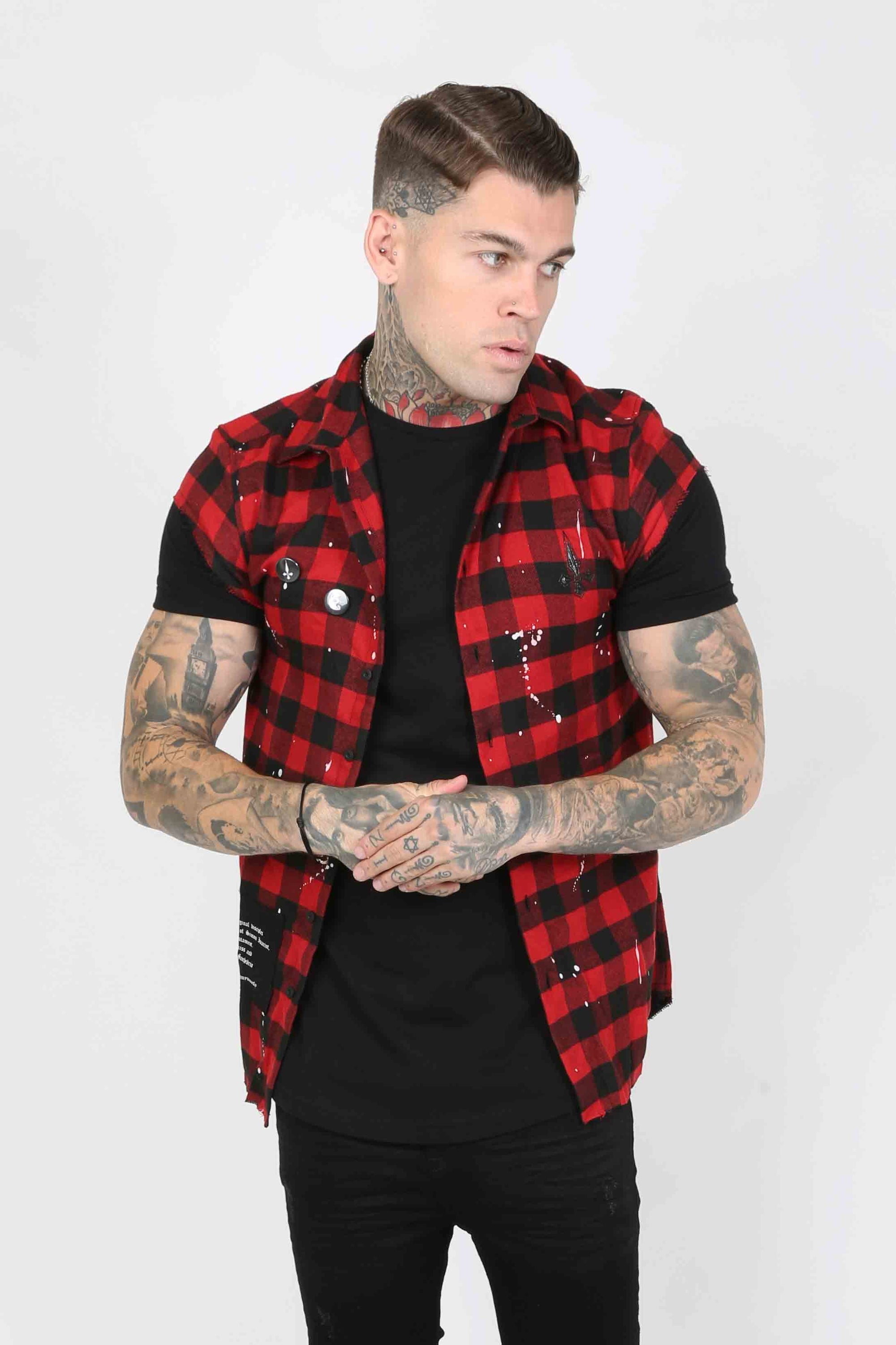 Judas Sinned Punked Plaid Men's Overshirt - Red - Judas Sinned Clothing