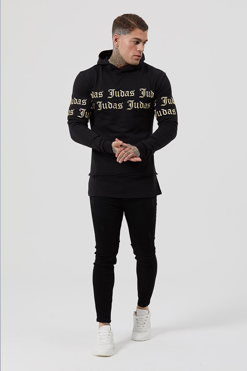Mens Judas Sinned Repent Repeat Embroidery Men's Hoodie - Black (HOODIE) - Judas Sinned Clothing