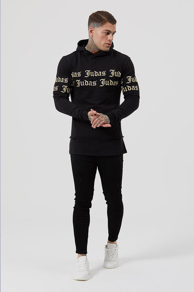 Judas Sinned Repent Repeat Embroidery Men's Hoodie - Black - Judas Sinned Clothing
