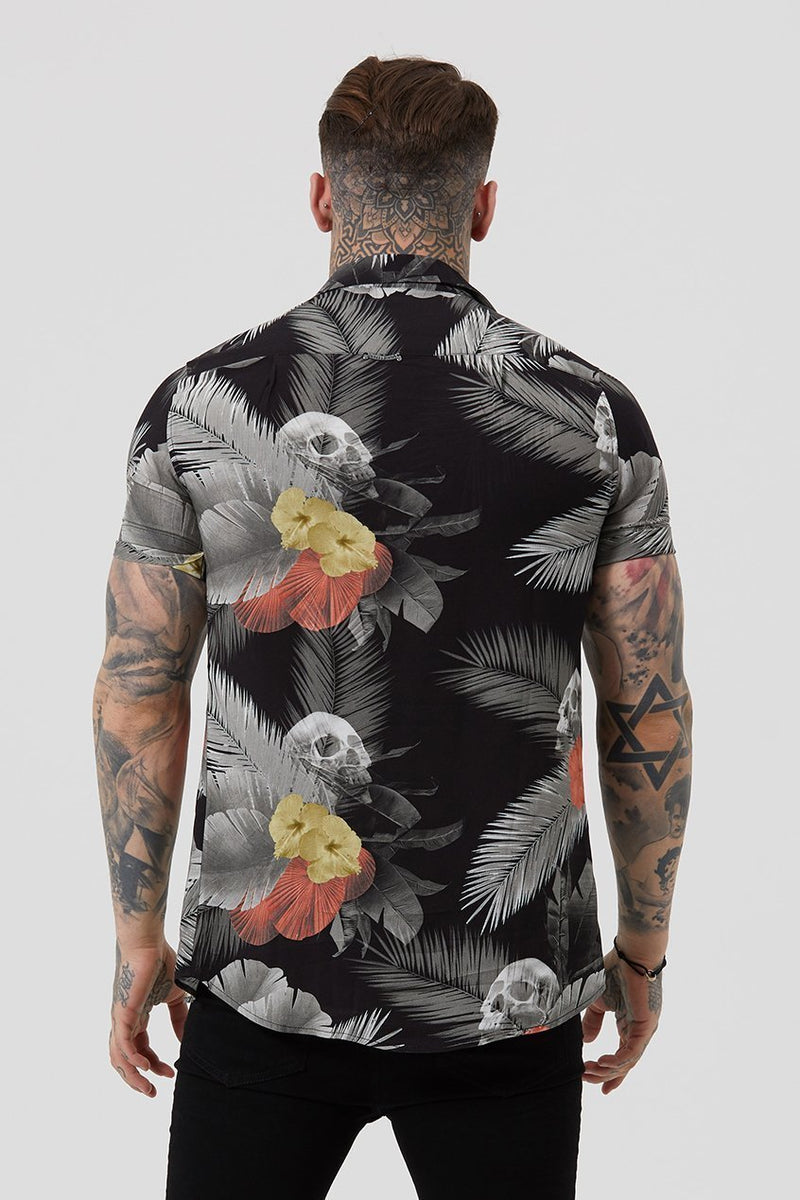 Judas Sinned Res Tropical Resort Men's Shirt - Black - Judas Sinned Clothing