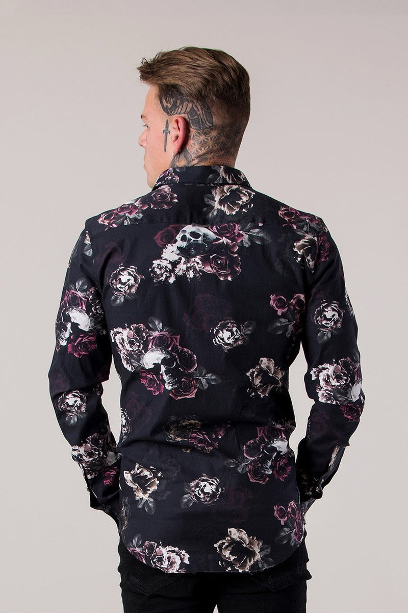 Judas Sinned Roses Longsleeve Men's Shirt - Black - Judas Sinned Clothing