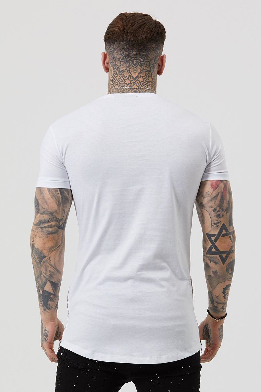 Side Zip Men's T-Shirt - White - Judas Sinned Clothing