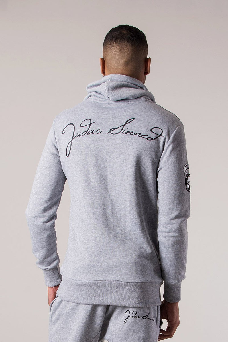 Judas Sinned Sig Tracksuit Men's Hoodie - Grey Marl - Judas Sinned Clothing