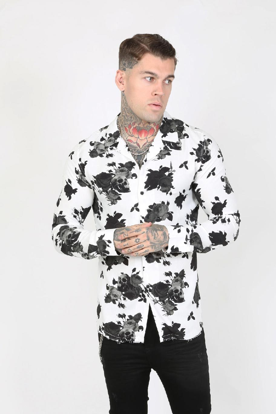 Judas Sinned Sil Floral Skull Stretch Rever Collar Men's Shirt - White - Judas Sinned Clothing
