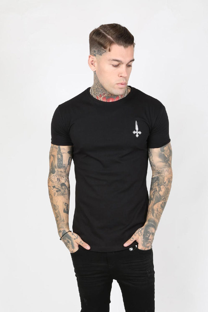 Judas Sinned Slam Crystal Back Stripe Men's T-Shirt - Black - Judas Sinned Clothing