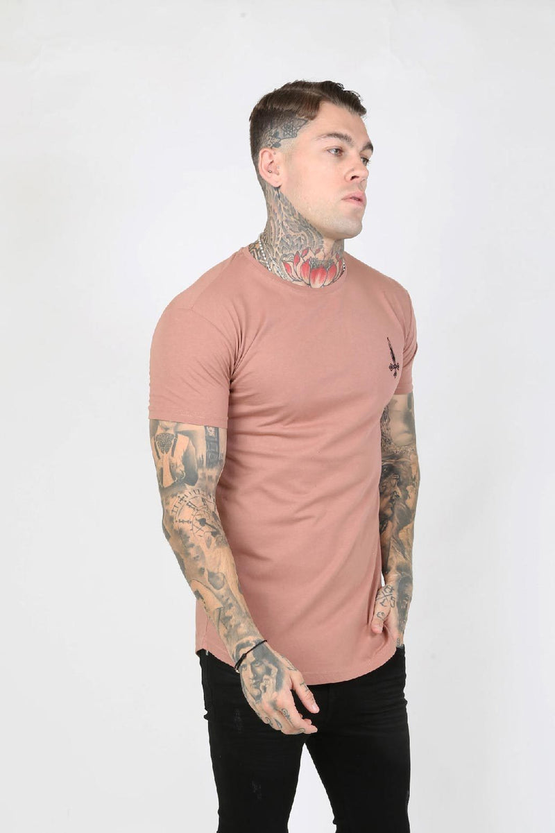 Judas Sinned Slam Crystal Back Stripe Men's T-Shirt - Peach