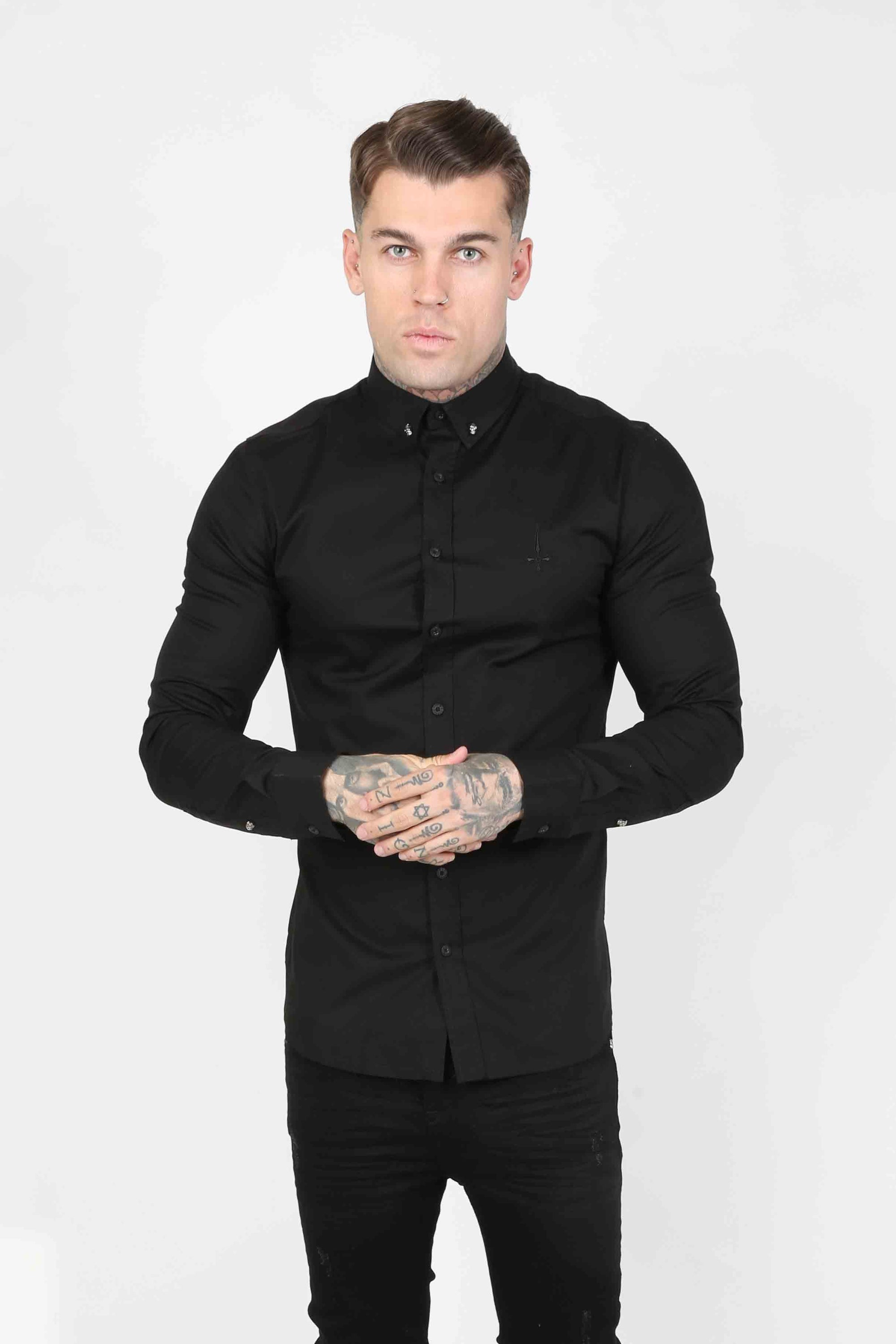Smart Longsleeve Men's Shirt - Black - Judas Sinned Clothing
