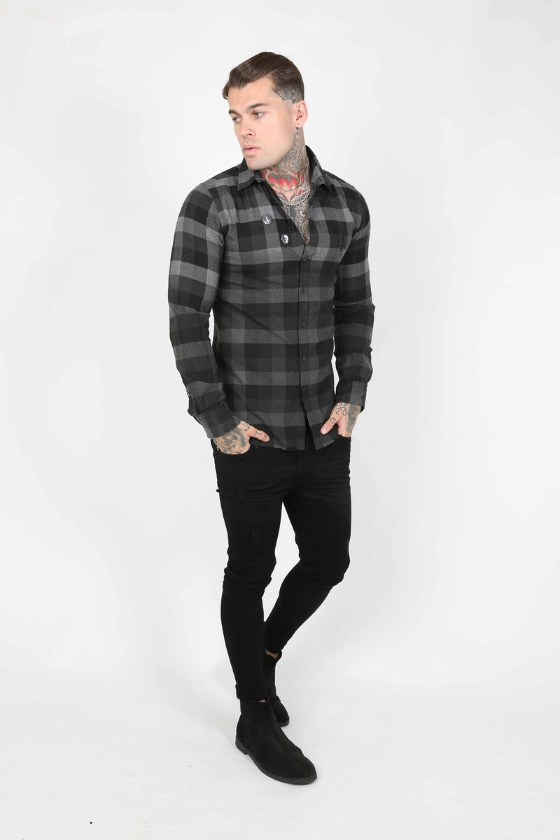 Judas Sinned Squared Plaid Men's Shirt - Grey - Judas Sinned Clothing
