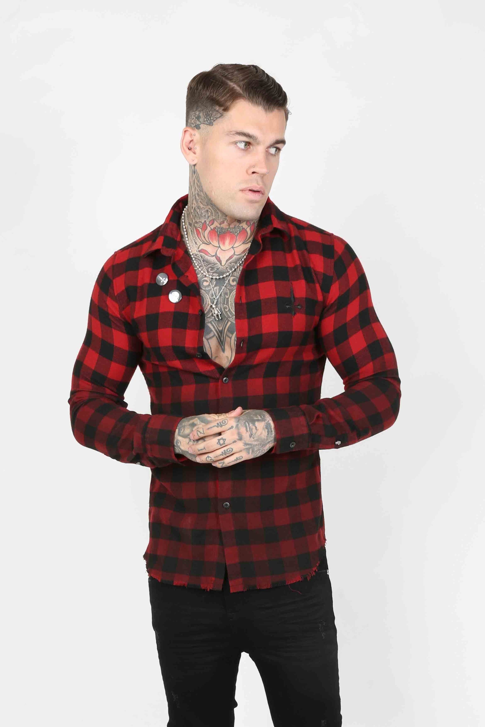 Squared Plaid Men's Shirt - Red - Judas Sinned Clothing
