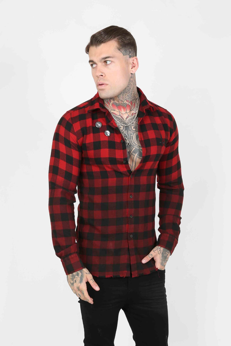 Judas Sinned Squared Plaid Men's Shirt - Red - Judas Sinned Clothing