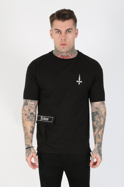 Judas Sinned Stant Pocket Detail Men's T-Shirt - Black - Judas Sinned Clothing