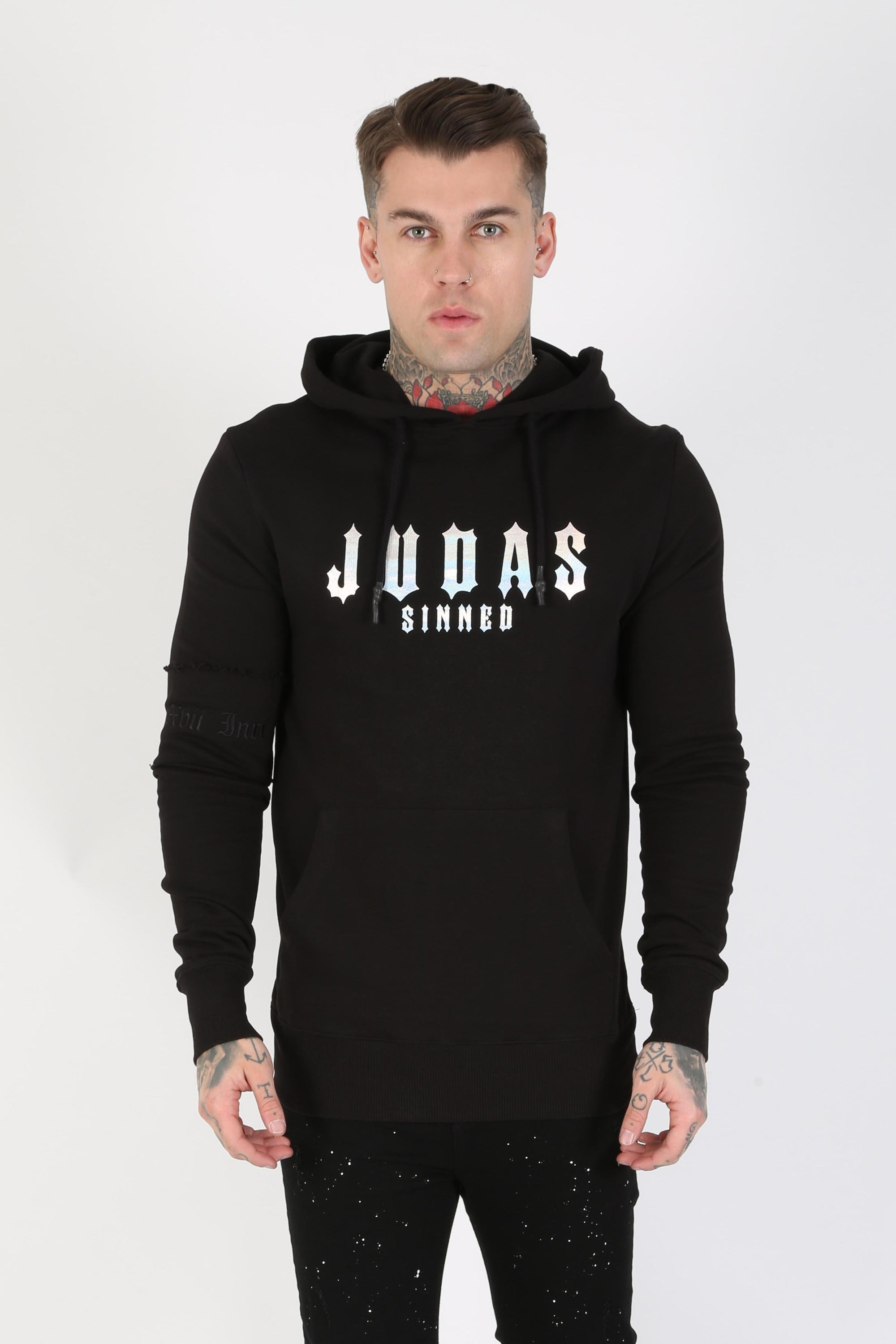 Judas Sinned Stealth Ombre Logo Men's Hoodie - Black - Judas Sinned Clothing