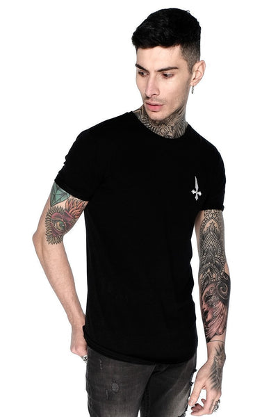 Judas Sinned Superstretch Curved Hem Men's T-Shirt - Black - Judas Sinned Clothing