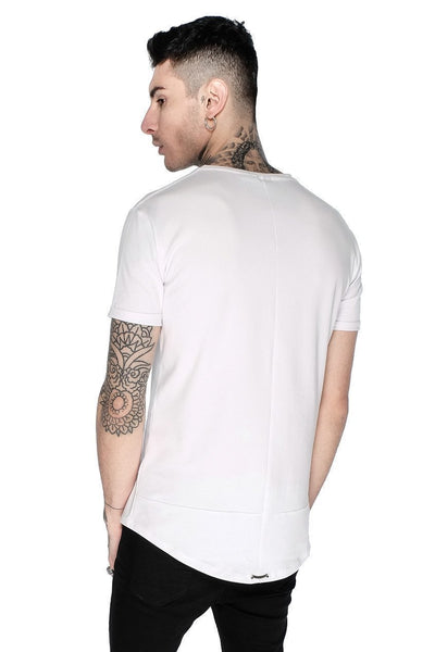 Judas Sinned Superstretch Curved Hem Men's T-Shirt - White - Judas Sinned Clothing