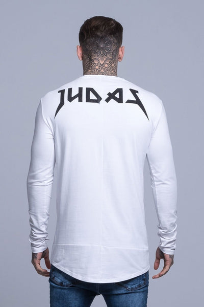 Judas Sinned Superstretch Under Long Sleeve Men's T-Shirt - White - Judas Sinned Clothing
