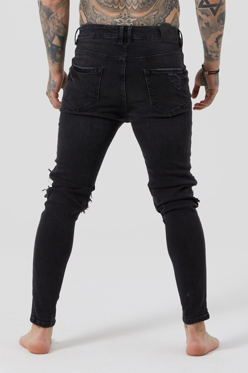 Judas Sinned Throttle Men's Biker Jeans - Grey Wash - Judas Sinned Clothing