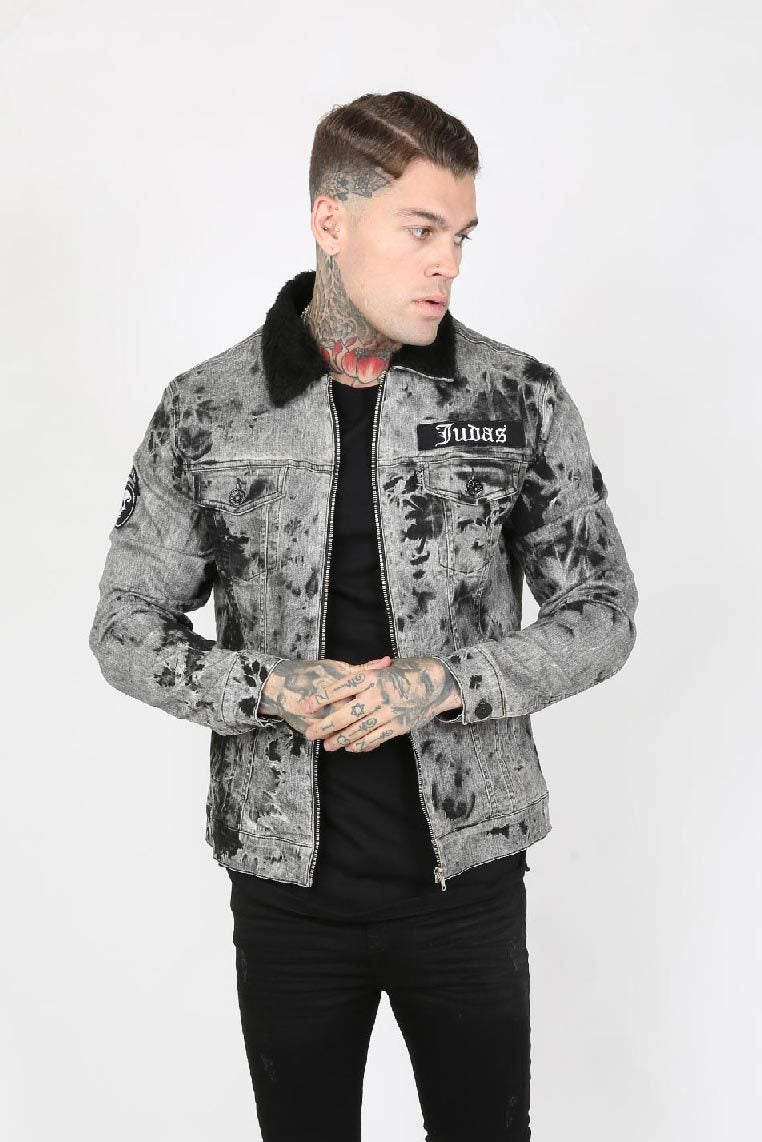 Judas Sinned Trip Crystal Yoke Trucker Men's Jacket - Electric Grey - Judas Sinned Clothing
