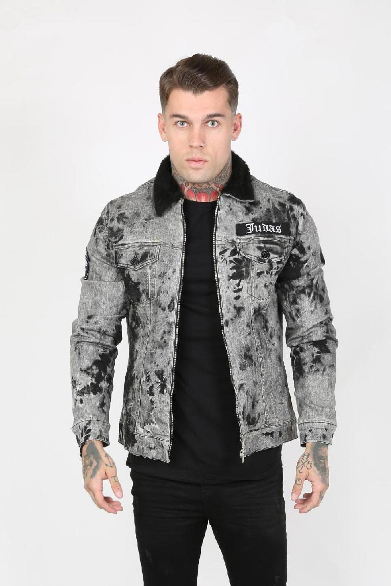 Judas Sinned Trip Crystal Yoke Trucker Men's Jacket - Electric Grey