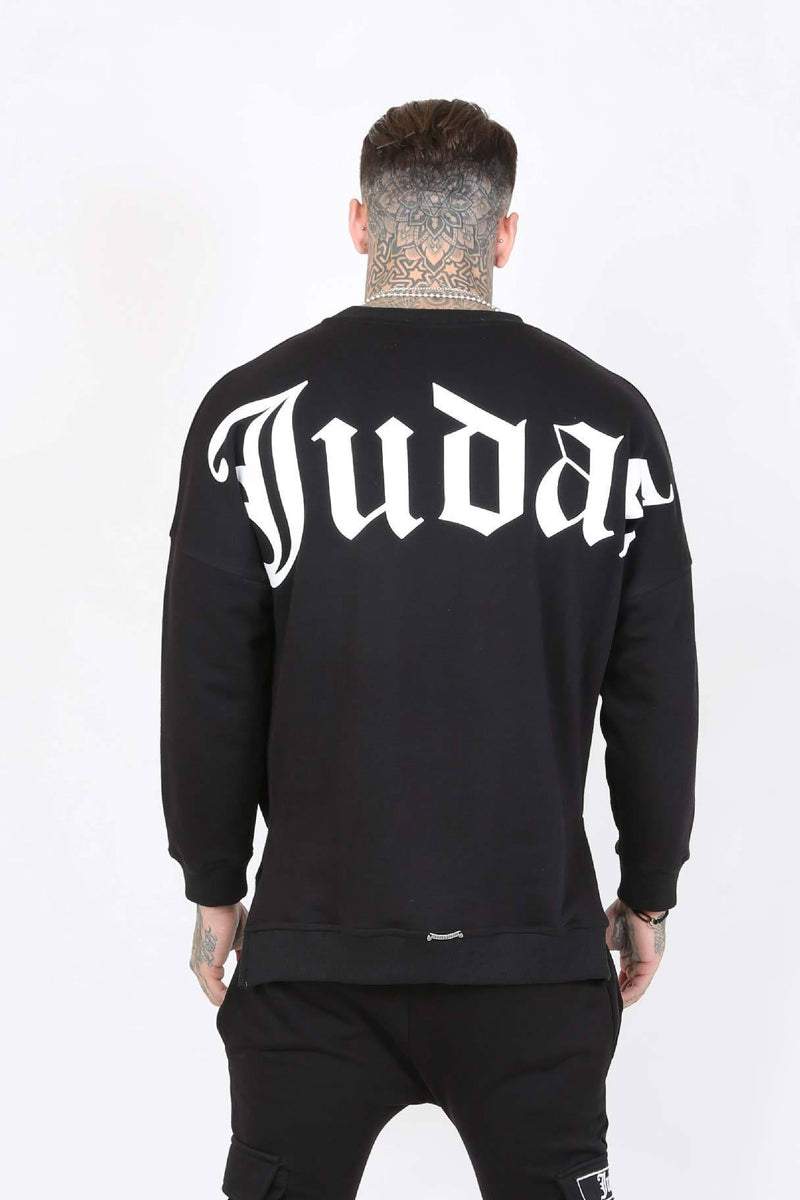 Judas Sinned Uti Split Hem Pocket Utility Men's Sweatshirt - Black - Judas Sinned Clothing