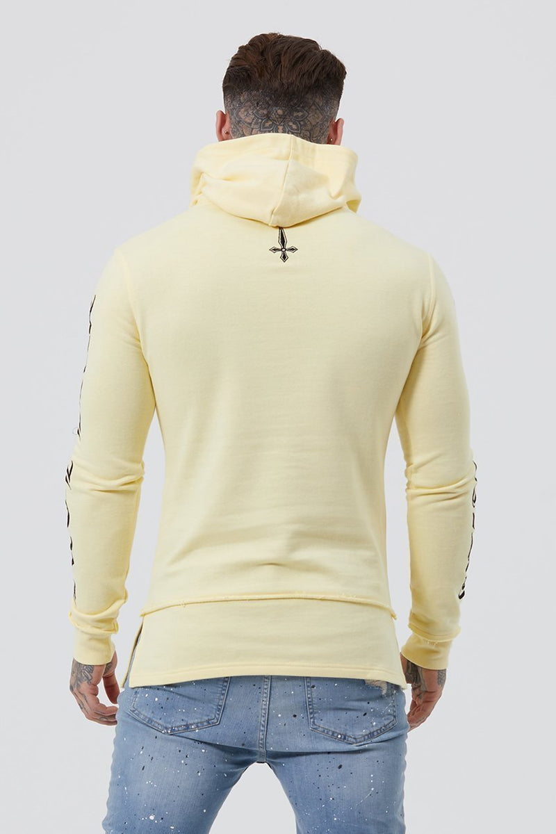 Judas Sinned XVII Embroidery Text Men's Hoodie - Yellow - Judas Sinned Clothing