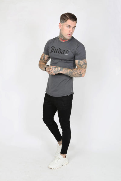 Judas Sinned Zip Wet Look Logo Men's T-Shirt - Grey - Judas Sinned Clothing