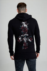 Mens Judas Sinned Rose Cross Overhead Hoodie - Black (HOODIE) - Judas Sinned Clothing