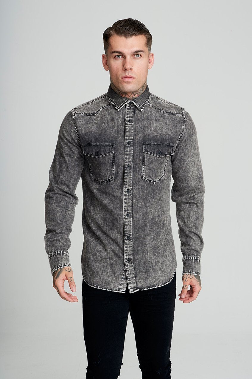 Judas Sinned Becks Denim Men's Shirt - Black - Judas Sinned Clothing