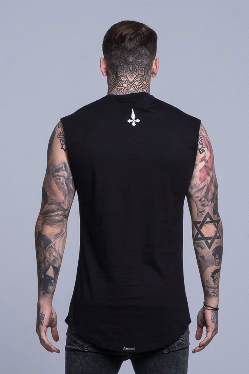 Judas Sinned Clothing T-SHIRT SMALL / BLACK Judas Sinned Dark Cut Off Logo T-Shirt - Black