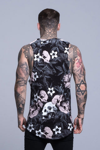 Mens Judas Sinned Floral Skull Print Rock Vest - Black (T-SHIRT) - Judas Sinned Clothing