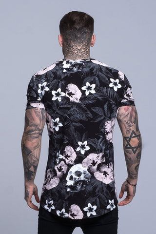 Mens Judas Sinned Floral Skull Printed Men's T-Shirt - Black (T-SHIRT) - Judas Sinned Clothing