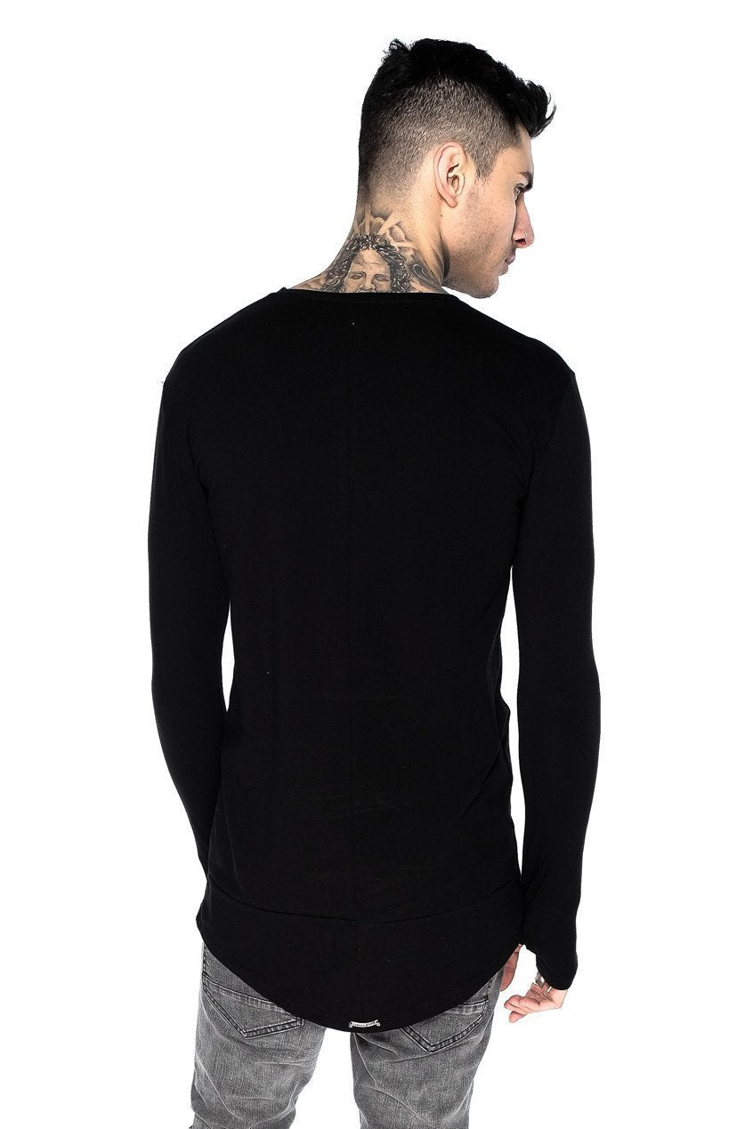 Mens Judas Sinned Long Sleeve Super Stretch Men's Crew Neck T-Shirt - Black (T-SHIRT) - Judas Sinned Clothing
