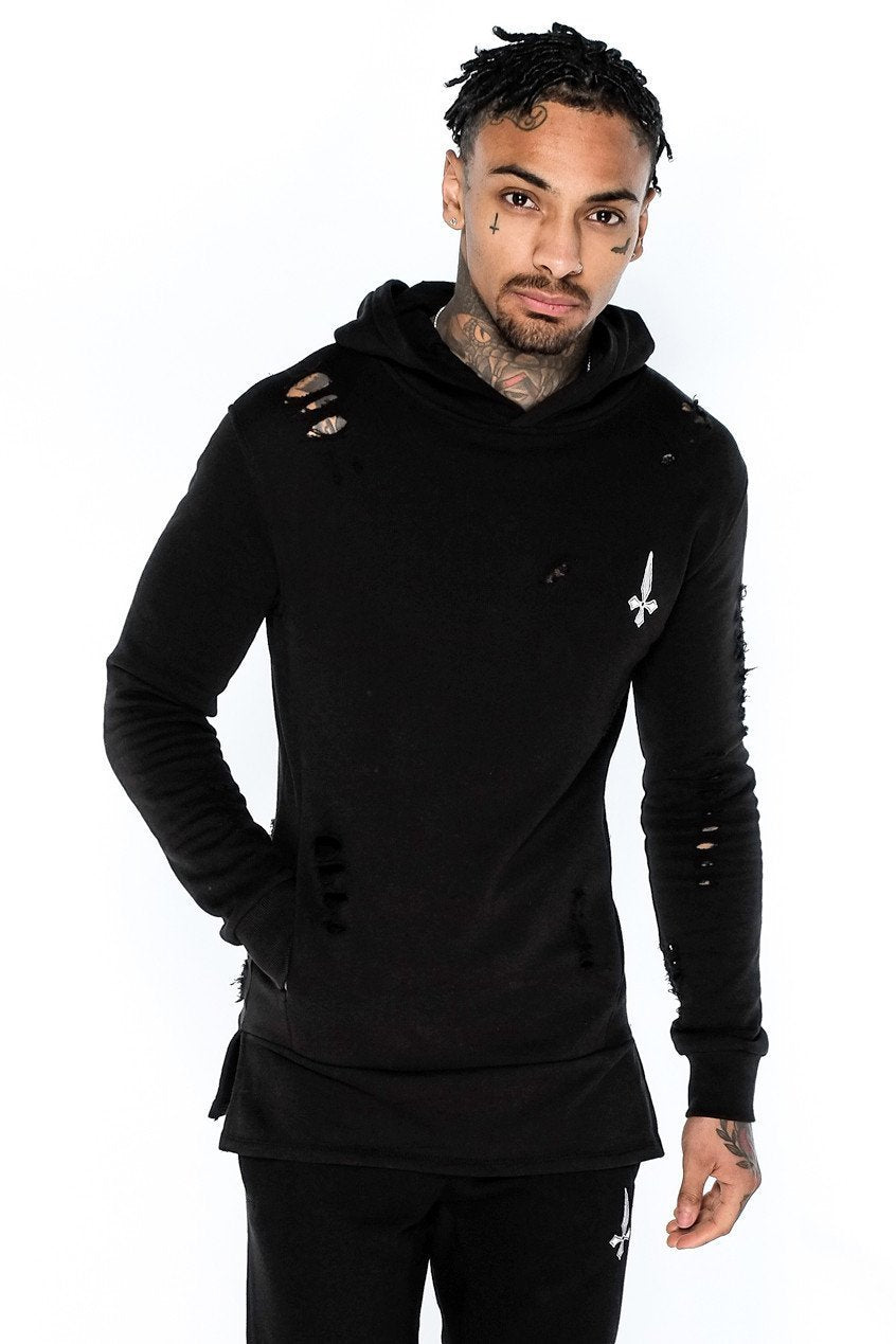 Mens Judas Sinned Men's Distressed Core Panel Hoodie - Black (HOODIE) - Judas Sinned Clothing