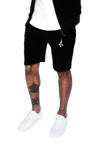 Judas Sinned Grind Cut Hem Wide Men's Shorts - Jet Stream