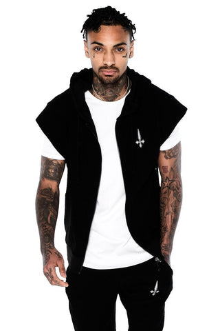 Judas Sinned Men's Distressed Core Panel Hoodie - Black