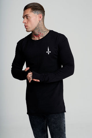 Judas Sinned Zip Hood Longline Men's Hoodie - Black