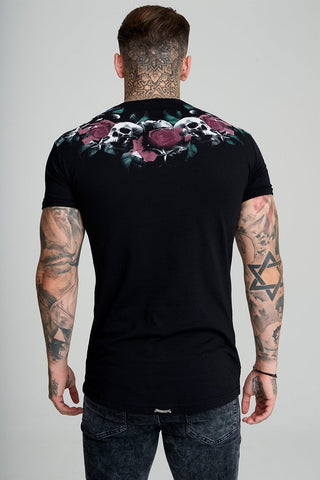 Mens Judas Sinned Rose Skull Men's T-Shirt - Black (T-SHIRT) - Judas Sinned Clothing