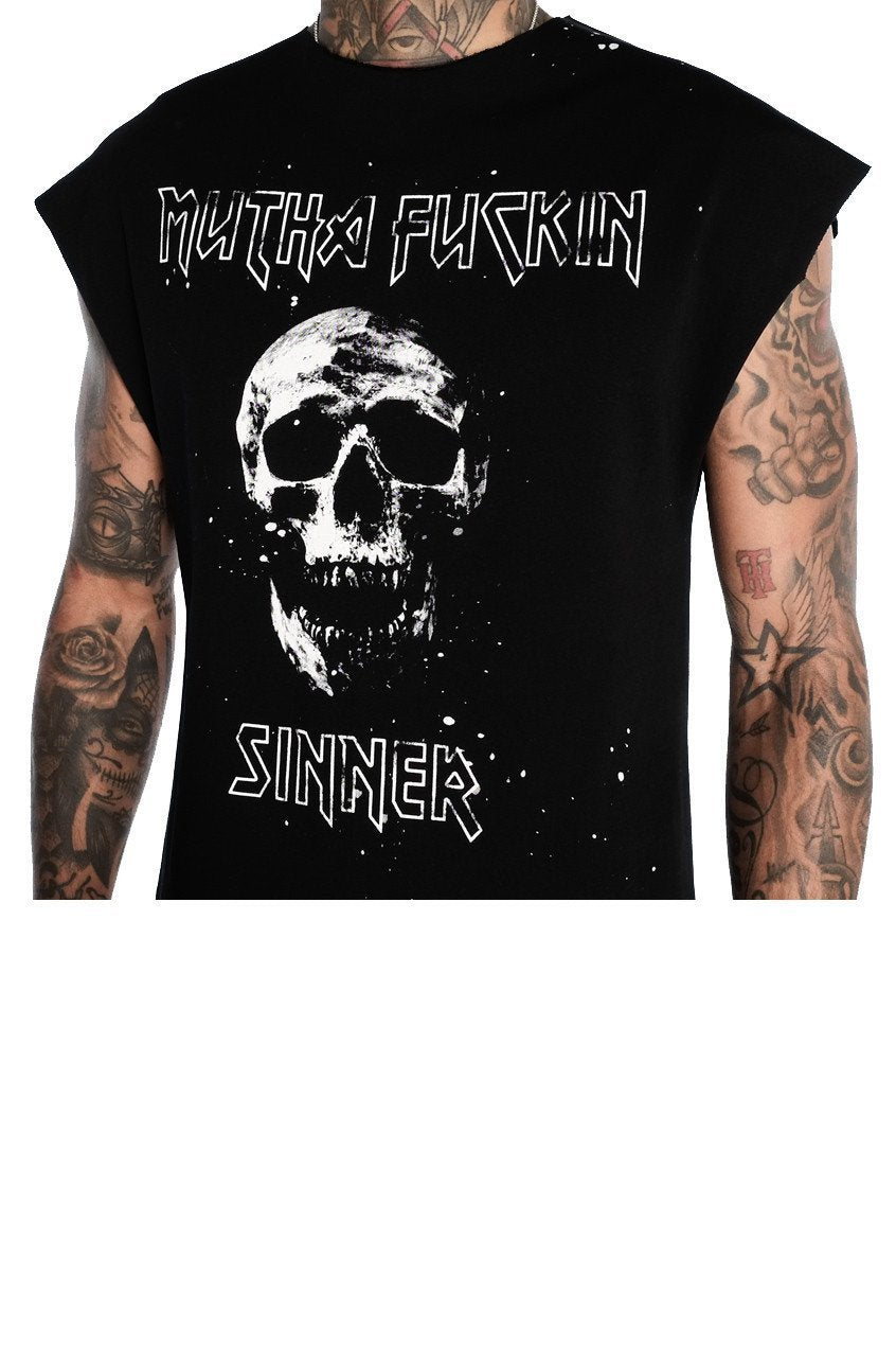 Mens Judas Sinned Sinner Cut Off T-Shirt - Black (CUT OFF VEST T-SHIRT) - Judas Sinned Clothing